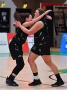 24 January 2020; Jasmine Burke, left, and Hannah Collins of Portlaoise Panthers celebrate after the Hula Hoops U18 Women's National Cup Final match between Portlaoise Panthers and Waterford Wildcats at the National Basketball Arena in Tallaght, Dublin. Photo by Brendan Moran/Sportsfile