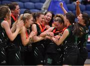 24 January 2020; Gillian Wheeler of Portlaoise Panthers is congratulated by her team-mates after being named MVP after the Hula Hoops U18 Women's National Cup Final match between Portlaoise Panthers and Waterford Wildcats at the National Basketball Arena in Tallaght, Dublin. Photo by Brendan Moran/Sportsfile