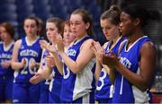24 January 2020; A dejected Grace O'Brien of Waterford Wildcats, 2nd from right, and her team-mates after the Hula Hoops U18 Women's National Cup Final match between Portlaoise Panthers and Waterford Wildcats at the National Basketball Arena in Tallaght, Dublin. Photo by Brendan Moran/Sportsfile