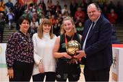 24 January 2020; Gillian Wheeler of Portlaoise Panthers is presented with the MVP by Basketball Ireland Secretary General Bernard O'Byrne, in the company of Basketball Ireland President Theresa Walsh, left, and Margaret Miley, Secretary, NDAC, after the Hula Hoops U18 Women's National Cup Final match between Portlaoise Panthers and Waterford United Wildcats at the National Basketball Arena in Tallaght, Dublin. Photo by Brendan Moran/Sportsfile