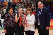 24 January 2020; Ciara Byrne of Portlaoise Panthers is presented with the cup by Margaret Miley, Secretary, NDAC, in the company of Basketball Ireland President Theresa Walsh and Basketball Ireland Secretary General Bernard O'Byrne after the Hula Hoops U18 Women's National Cup Final match between Portlaoise Panthers and Waterford United Wildcats at the National Basketball Arena in Tallaght, Dublin. Photo by Brendan Moran/Sportsfile