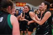 24 January 2020; Hannah Collins of Portlaoise Panthers and her team-mates celebrate after the Hula Hoops U18 Women's National Cup Final match between Portlaoise Panthers and Waterford Wildcats at the National Basketball Arena in Tallaght, Dublin. Photo by Brendan Moran/Sportsfile