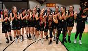 24 January 2020; The Portlaoise Panthers team celebrate with the cup after the Hula Hoops U18 Women's National Cup Final match between Portlaoise Panthers and Waterford Wildcats at the National Basketball Arena in Tallaght, Dublin. Photo by Brendan Moran/Sportsfile