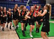 24 January 2020; The Portlaoise Panthers team celebrate with their captain Ciara Byrne and the cup after the Hula Hoops U18 Women's National Cup Final match between Portlaoise Panthers and Waterford Wildcats at the National Basketball Arena in Tallaght, Dublin. Photo by Brendan Moran/Sportsfile