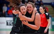 24 January 2020; Jasmine Burke, left, and Hannah Collins of Portlaoise Panthers celebrate after the Hula Hoops U18 Women's National Cup Final match between Portlaoise Panthers and Waterford Wildcats at the National Basketball Arena in Tallaght, Dublin. Photo by Daniel Tutty/Sportsfile