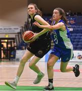 24 January 2020; Lisa Blaney of Portlaoise Panthers in action against Tara Freeman of Waterford Wildcats during the Hula Hoops U18 Women's National Cup Final match between Portlaoise Panthers and Waterford Wildcats at the National Basketball Arena in Tallaght, Dublin. Photo by Daniel Tutty/Sportsfile
