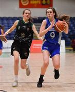24 January 2020; Anna Grogan of Waterford Wildcats in action against Lisa Blaney of Portlaoise Panthers during the Hula Hoops U18 Women's National Cup Final match between Portlaoise Panthers and Waterford Wildcats at the National Basketball Arena in Tallaght, Dublin. Photo by Brendan Moran/Sportsfile