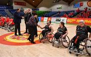 24 January 2020; Basketball Ireland President Theresa Walsh and Basketball Ireland Secretary General Bernard O'Byrne meet the match officials and the Killester WBC team prior to the Hula Hoops IWA Wheelchair Basketball Cup Final match between Killester WBC and Rebel Wheelers at the National Basketball Arena in Tallaght, Dublin. Photo by Brendan Moran/Sportsfile