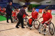 24 January 2020; Basketball Ireland President Theresa Walsh and Basketball Ireland Secretary General Bernard O'Byrne meet the Rebel Wheelers prior to the Hula Hoops IWA Wheelchair Basketball Cup Final match between Killester WBC and Rebel Wheelers at the National Basketball Arena in Tallaght, Dublin. Photo by Brendan Moran/Sportsfile