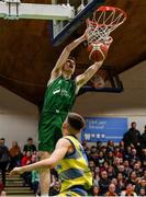 25 January 2020; James Connaire of Moycullen dunks the ball over Pairic Moran of UCD Marian during the Hula Hoops U20 Men's National Cup Final between Moycullen and UCD Marian at the National Basketball Arena in Tallaght, Dublin. Photo by Brendan Moran/Sportsfile