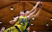 25 January 2020; James Connaire of Moycullen and Eoin McCann of UCD Marian compete for possession during the Hula Hoops U20 Men's National Cup Final between Moycullen and UCD Marian at the National Basketball Arena in Tallaght, Dublin. Photo by Brendan Moran/Sportsfile
