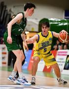 25 January 2020; Jake Owen of UCD Marian in action against James Connaire of Moycullen during the Hula Hoops U20 Men's National Cup Final between Moycullen and UCD Marian at the National Basketball Arena in Tallaght, Dublin. Photo by Brendan Moran/Sportsfile
