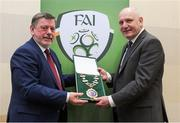 25 January 2020; Outgoing President of the FAI Donal Conway, left, presents President elect Gerry McAnaney with the Presidential Chain of Office during an FAI EGM at the Crowne Plaza Hotel in Blanchardstown in Dublin. Photo by Matt Browne/Sportsfile
