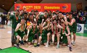 25 January 2020; The Moycullen team celebrate with the cup after the Hula Hoops U20 Men's National Cup Final between Moycullen and UCD Marian at the National Basketball Arena in Tallaght, Dublin. Photo by Brendan Moran/Sportsfile