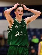 25 January 2020; James Connaire of Moycullen reacts near the end of the Hula Hoops U20 Men's National Cup Final between Moycullen and UCD Marian at the National Basketball Arena in Tallaght, Dublin. Photo by Brendan Moran/Sportsfile