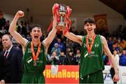 25 January 2020; Moycullen co-captains James Lyons, left, and Dara Kenna celebrate with the cup after the Hula Hoops U20 Men's National Cup Final between Moycullen and UCD Marian at the National Basketball Arena in Tallaght, Dublin. Photo by Brendan Moran/Sportsfile