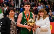 25 January 2020; Paul Kelly of Moycullen is presented with the MVP award by Basketball Ireland President Theresa Walsh, left, and Margaret Miley, Secretary, NDAC, after the Hula Hoops U20 Men's National Cup Final between Moycullen and UCD Marian at the National Basketball Arena in Tallaght, Dublin. Photo by Brendan Moran/Sportsfile