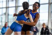 25 January 2020; Adeyemi Talabi of Longford A.C., Co. Longford, right, celebrates with Alannah McGuinness of Carrick-on-Shannon A.C., Co. Leitrim, after winning the Junior Women's 60m during the Irish Life Health National Indoor Junior and U23 Championships at the AIT Indoor Arena in Athlone, Westmeath. Photo by Sam Barnes/Sportsfile