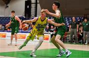 25 January 2020; Eoin McCann of UCD Marian in action against James Connaire of Moycullen the Hula Hoops U20 Men's National Cup Final between Moycullen and UCD Marian at the National Basketball Arena in Tallaght, Dublin. Photo by Brendan Moran/Sportsfile
