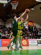 25 January 2020; Eoin McCann of UCD Marian in action against James Connaire of Moycullen after the Hula Hoops U20 Men's National Cup Final between Moycullen and UCD Marian at the National Basketball Arena in Tallaght, Dublin. Photo by Brendan Moran/Sportsfile