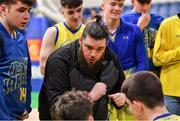 25 January 2020; UCD Marian coach Eddie Barron during the Hula Hoops U20 Men's National Cup Final between Moycullen and UCD Marian at the National Basketball Arena in Tallaght, Dublin. Photo by Brendan Moran/Sportsfile