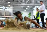 25 January 2020; Blessing Alamu of Carraig-Na-Bhfear A.C., Co. Cork, competing in the Junior Women's Long Jump during the Irish Life Health National Indoor Junior and U23 Championships at the AIT Indoor Arena in Athlone, Westmeath. Photo by Sam Barnes/Sportsfile