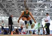 25 January 2020; Katie Nolke of Ferrybank A.C., Co. Waterford, competing in the Junior Women's Long Jump during the Irish Life Health National Indoor Junior and U23 Championships at the AIT Indoor Arena in Athlone, Westmeath. Photo by Sam Barnes/Sportsfile