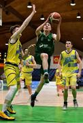25 January 2020; James Cummins of Moycullen in action against Jamie Muldowney of UCD Marian during the Hula Hoops U20 Men's National Cup Final between Moycullen and UCD Marian at the National Basketball Arena in Tallaght, Dublin. Photo by Brendan Moran/Sportsfile