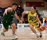 25 January 2020; Jake Owen of UCD Marian in action against Paul Kelly of Moycullen during the Hula Hoops U20 Men's National Cup Final between Moycullen and UCD Marian at the National Basketball Arena in Tallaght, Dublin. Photo by Brendan Moran/Sportsfile