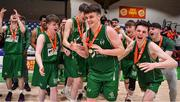 25 January 2020; Paul Kelly of Moycullen is congratulated by his team-mates after being announced as MVP after the Hula Hoops U20 Men's National Cup Final between Moycullen and UCD Marian at the National Basketball Arena in Tallaght, Dublin. Photo by Brendan Moran/Sportsfile