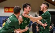 25 January 2020; James Lyons of Moycullen celebrates with team-mates Fiarchra Mulkerrins, left, and Paul Culkeen, right, after the Hula Hoops U20 Men's National Cup Final between Moycullen and UCD Marian at the National Basketball Arena in Tallaght, Dublin. Photo by Brendan Moran/Sportsfile