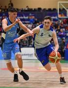 25 January 2020; Christopher Fulton of Belfast Star in action against Kelvin O'Donoghue of Neptune during the Hula Hoops U18 Men's National Cup Final between Neptune and Belfast Star at the National Basketball Arena in Tallaght, Dublin. Photo by Brendan Moran/Sportsfile