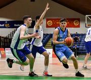 25 January 2020; Kelvin O'Donoghue of Neptune in action against Christopher Fulton and Conal McGirr of Belfast Star during the Hula Hoops U18 Men's National Cup Final between Neptune and Belfast Star at the National Basketball Arena in Tallaght, Dublin. Photo by Brendan Moran/Sportsfile