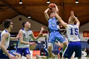 25 January 2020; Kelvin O'Donoghue of Neptune in action against Christopher Fulton and Jakub Rutowski of Belfast Star during the Hula Hoops U18 Men's National Cup Final between Neptune and Belfast Star at the National Basketball Arena in Tallaght, Dublin. Photo by Brendan Moran/Sportsfile