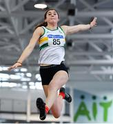 25 January 2020; Ruby Millet of St. Abbans A.C., Co. Carlow, competing in the Junior Women's Long Jump during the Irish Life Health National Indoor Junior and U23 Championships at the AIT Indoor Arena in Athlone, Westmeath. Photo by Sam Barnes/Sportsfile