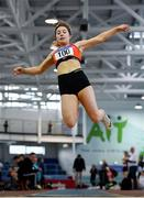 25 January 2020; Niamh O Neill of St. Colmans South Mayo A.C., competing in the Junior Women's Long Jump during the Irish Life Health National Indoor Junior and U23 Championships at the AIT Indoor Arena in Athlone, Westmeath. Photo by Sam Barnes/Sportsfile