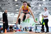 25 January 2020; Jennifer Hanrahan of Tallaght A.C., Dublin, competing in the Junior Women's Long Jump during the Irish Life Health National Indoor Junior and U23 Championships at the AIT Indoor Arena in Athlone, Westmeath. Photo by Sam Barnes/Sportsfile