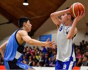 25 January 2020; Conal McGirr of Belfast Star in action against David Varma of Neptune during the Hula Hoops U18 Men's National Cup Final between Neptune and Belfast Star at the National Basketball Arena in Tallaght, Dublin. Photo by Brendan Moran/Sportsfile