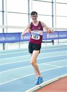 25 January 2020; Matthew Glennon of Mullingar Harriers A.C., Co. Westmeath, celebrates on his way to winning the Junior Men's Walk 3km during the Irish Life Health National Indoor Junior and U23 Championships at the AIT Indoor Arena in Athlone, Westmeath. Photo by Sam Barnes/Sportsfile