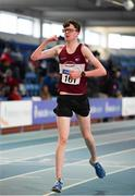 25 January 2020; Matthew Glennon of Mullingar Harriers A.C., Co. Westmeath, celebrates after winning the Junior Men's Walk 3km during the Irish Life Health National Indoor Junior and U23 Championships at the AIT Indoor Arena in Athlone, Westmeath. Photo by Sam Barnes/Sportsfile