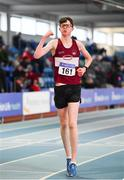 25 January 2020; Matthew Glennon of Mullingar Harriers A.C., Co. Westmeath, celebrates winning the Junior Men's Walk 3km during the Irish Life Health National Indoor Junior and U23 Championships at the AIT Indoor Arena in Athlone, Westmeath. Photo by Sam Barnes/Sportsfile