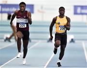 25 January 2020; Israel Olatunde of UCD A.C., Dublin, right, on his way to winning the Junior Men's 60m, ahead of Charles Okafor of Mullingar Harriers A.C., Co. Westmeath, during the Irish Life Health National Indoor Junior and U23 Championships at the AIT Indoor Arena in Athlone, Westmeath. Photo by Sam Barnes/Sportsfile