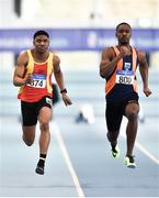 25 January 2020; Tope Adeyeye of Sli Cualann A.C., Wicklow, right, on his way to winning the U23 Men's 60m ahead of eventual second Joseph Olalekan Ojemumi of Tallaght A.C., Dublin, during the Irish Life Health National Indoor Junior and U23 Championships at the AIT Indoor Arena in Athlone, Westmeath. Photo by Sam Barnes/Sportsfile
