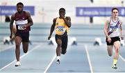 25 January 2020; Israel Olatunde of UCD A.C, Dublin, centre, on his way to winning the Junior Men's 60m, ahead of Charles Okafor of Mullingar Harriers A.C., Westmeath, left, and Jack Olivier of Dundrum South Dublin A.C., during the Irish Life Health National Indoor Junior and U23 Championships at the AIT Indoor Arena in Athlone, Westmeath. Photo by Sam Barnes/Sportsfile