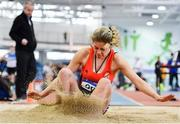 25 January 2020; Fodhla Nicpháidín of Rosses A.C., Co. Donegal, competing in the U23 Women's Long Jump during the Irish Life Health National Indoor Junior and U23 Championships at the AIT Indoor Arena in Athlone, Westmeath. Photo by Sam Barnes/Sportsfile