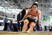 25 January 2020; Laura Frawley of St. Mary's A.C., Limerick, competing in the Junior Women's Long Jump during the Irish Life Health National Indoor Junior and U23 Championships at the AIT Indoor Arena in Athlone, Westmeath. Photo by Sam Barnes/Sportsfile