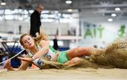 25 January 2020; Laura Cunningham of Craughwell A.C., Co. Galway, competing in the U23 Women's Long Jump during the Irish Life Health National Indoor Junior and U23 Championships at the AIT Indoor Arena in Athlone, Westmeath. Photo by Sam Barnes/Sportsfile