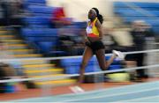25 January 2020; Rhasidat Adeleke of Tallaght A.C., Dublin, competing in the Junior Women's 200m during the Irish Life Health National Indoor Junior and U23 Championships at the AIT Indoor Arena in Athlone, Westmeath. Photo by Sam Barnes/Sportsfile