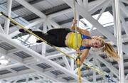 25 January 2020; Clodagh Walsh of Abbey Striders A.C., Cork, competing in the U23  Women's Pole Vault during the Irish Life Health National Indoor Junior and U23 Championships at the AIT Indoor Arena in Athlone, Westmeath. Photo by Sam Barnes/Sportsfile