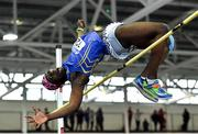 25 January 2020; Nelvin Appiah of Longford A.C., Co. Longford, fails a clearance whilst competing in the Junior Men's High Jump during the Irish Life Health National Indoor Junior and U23 Championships at the AIT Indoor Arena in Athlone, Westmeath. Photo by Sam Barnes/Sportsfile